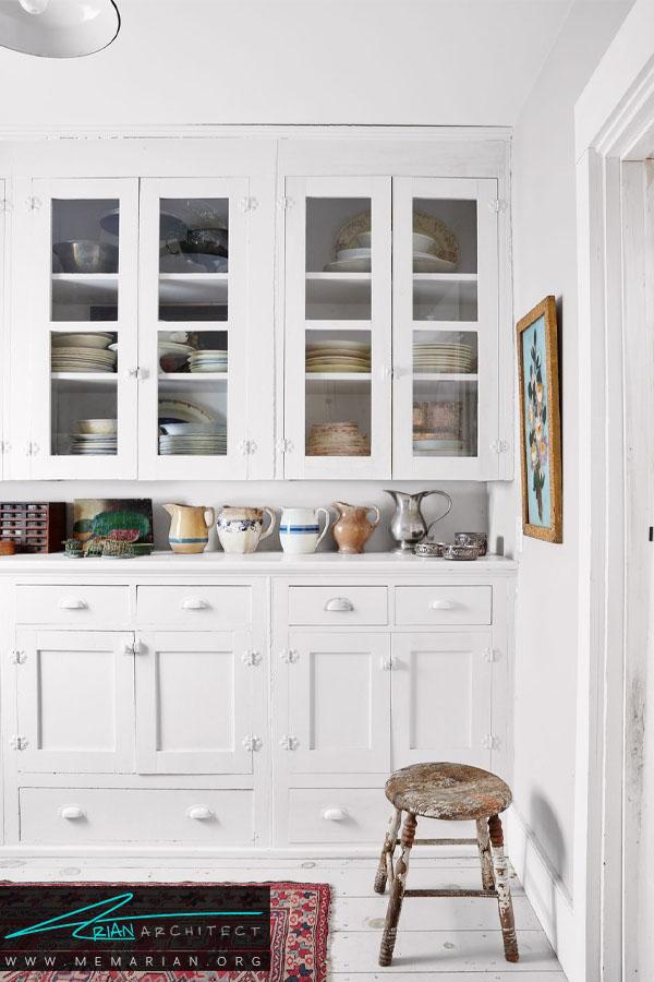 کابینت های منظم و سازماندهی شده - دکوراسیون رنگ سفید در آشپزخانه