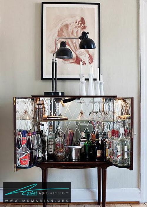 آینه در میز کوچک بار در خانه - شیک ترین ایده های دکوراسیون با آینه