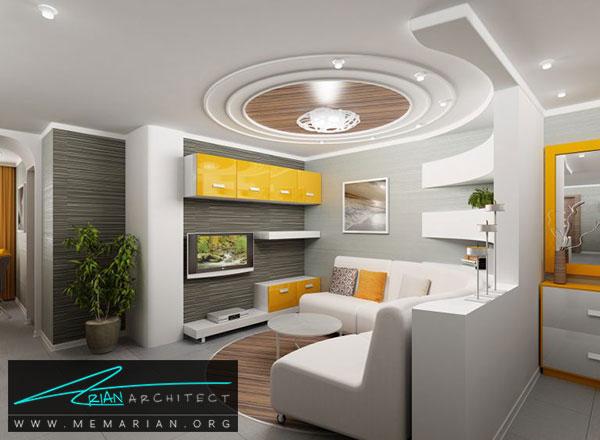 سقف کناف اتاق نشیمن - مدل های دکوراسیون داخلی با سقف کاذب