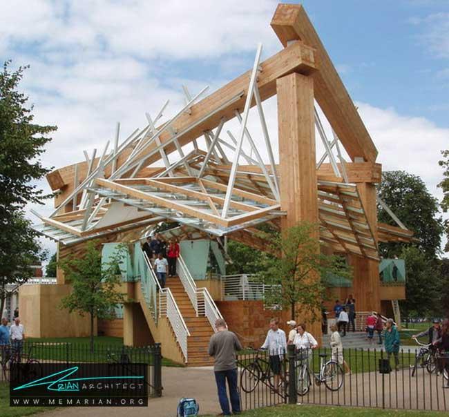 غرفه تابستانی گالری سرپانتین، معماری فرانک گری - 30 ساختمان دیدنی طراحی شده توسط فرانک گری