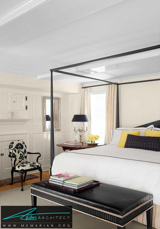 ترکیب رنگ سیاه و سفید و زرد- دکوراسیون سیاه و سفید برای اتاق خواب