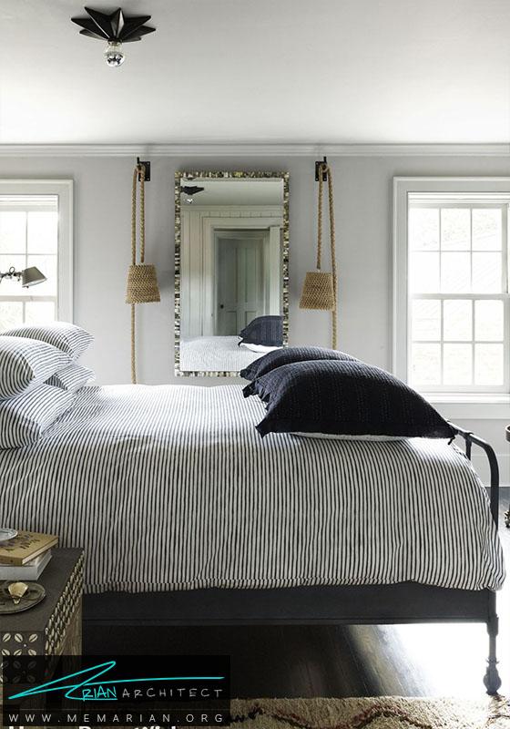 تخت خواب سراسر راه راه سیاه و سفید- دکوراسیون سیاه و سفید برای اتاق خواب