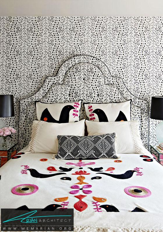 الگو و تضاد بین سبک ها در دکوراسیون اتاق دختر- دکوراسیون سیاه و سفید برای اتاق خواب