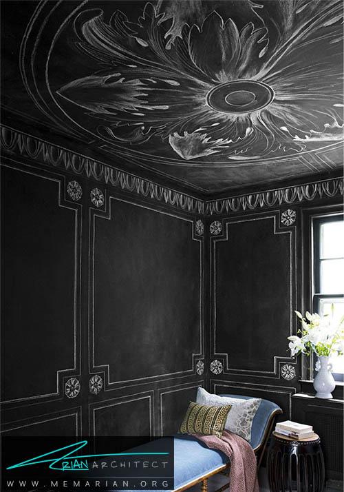 اضافه کردن نقش های گرافیکی و جزئیات به دیوار سیاه اتاق - دکوراسیون رنگ سیاه