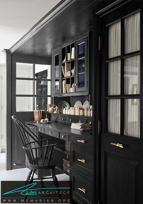 اتحاد رنگ سیاه در صندلی و سایر وسایل اتاق - دکوراسیون رنگ سیاه
