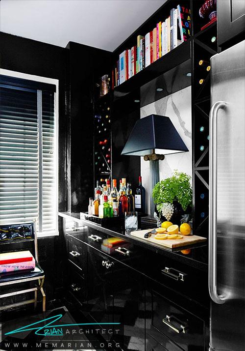 رنگ سیاه لاکی و لعابی برای وسایل اتاق آشپزخانه - دکوراسیون رنگ سیاه