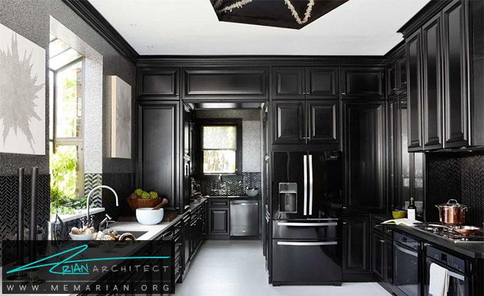 لوازم خانگی و کابینت هایی با رنگ سیاه در خانه - دکوراسیون رنگ سیاه