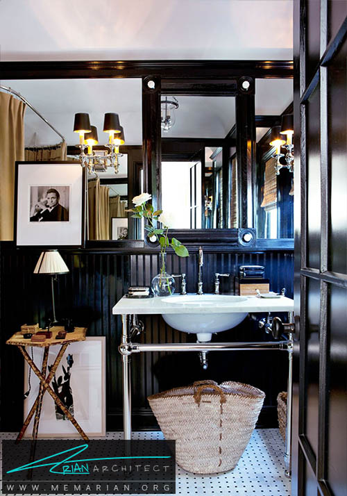 دکوراسیون رنگ سیاه در یک حمام کوچک - دکوراسیون رنگ سیاه
