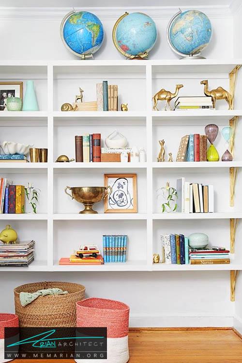 دکوراسیون قفسه های شیک و ساده - 15 ایده جالب برای دکوراسیون اتاق خانواده