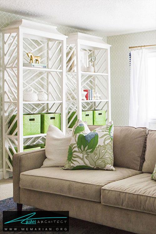 قفسه های عمودی، زیبایی و صرفه جویی در فضا - 15 ایده جالب برای دکوراسیون اتاق خانواده