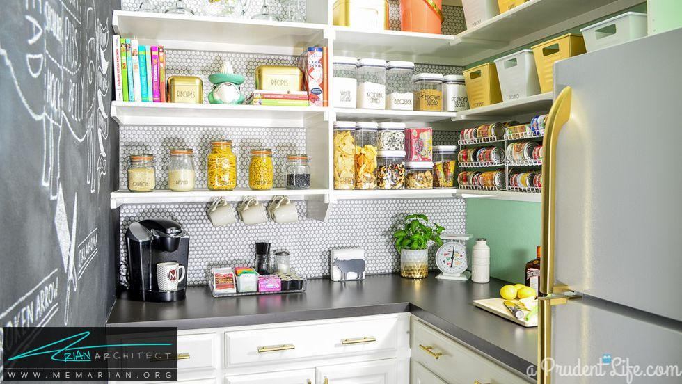 رنگ بندی طلایی - 16 ایده برای دکوراسیون قفسه آشپزخانه