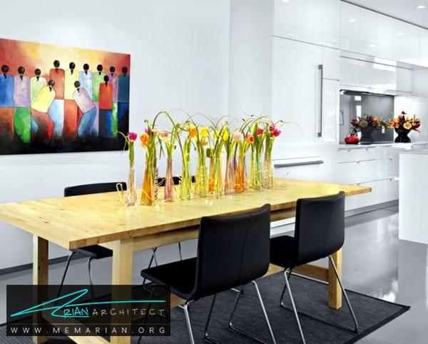 گل های رنگی روی میز - ایده های چیدمان گل و گیاه در دکوراسیون داخلی منزل