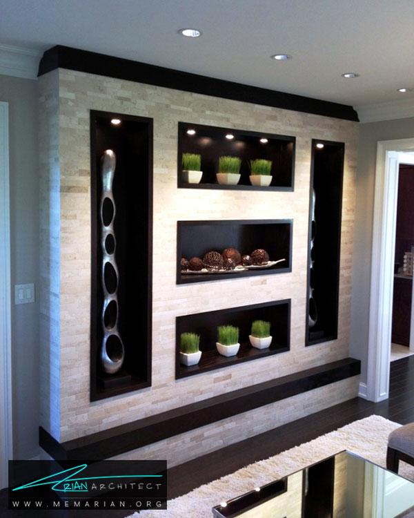 آرایش متقارن گیاهان در قفسه ها - ایده های چیدمان گل و گیاه در دکوراسیون داخلی منزل