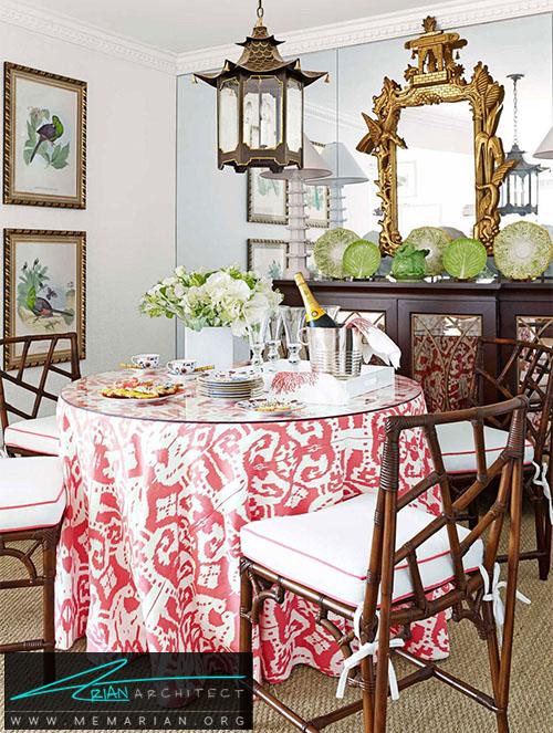 اضافه کردن یک رومیزی بلند روی میز ناهارخوری -دکوراسیون اتاق
