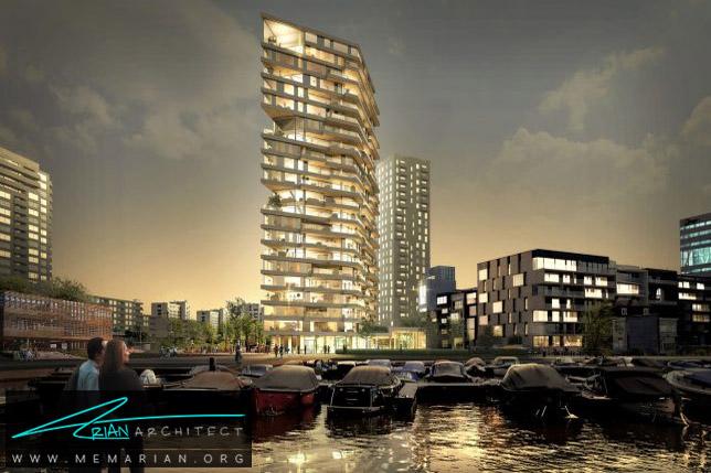 آسمانخراش چوبی HAUT در آمستردام- برج چوبی