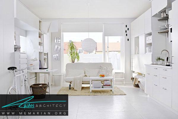 دکوراسیون سفید در خانه- استفاده مناسب از رنگ سفید در دکوراسیون به عنوان پس زمینه