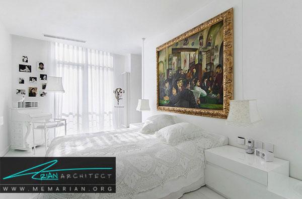 دکوراسیون سفید در خانه- نمایان ساختن آثار هنری با استفاده از رنگ سفید در دکوراسیون