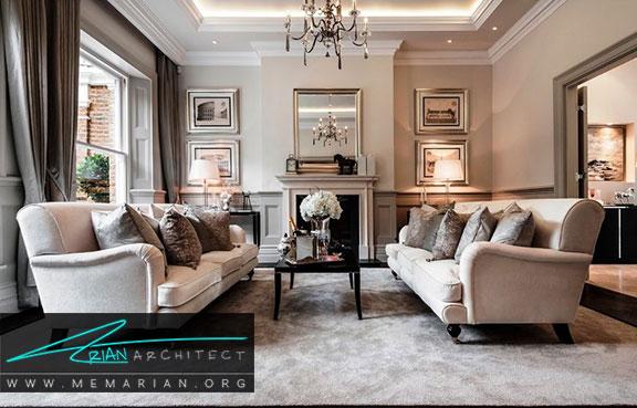 دکوراسیون سفید در خانه- کاربرد رنگ سفید همراه رنگ های گرم در دکوراسیون