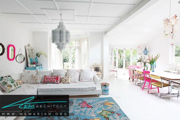 دکوراسیون سفید در خانه- امکان تغییر آسان در دکوراسیون در یک اتاق سفید