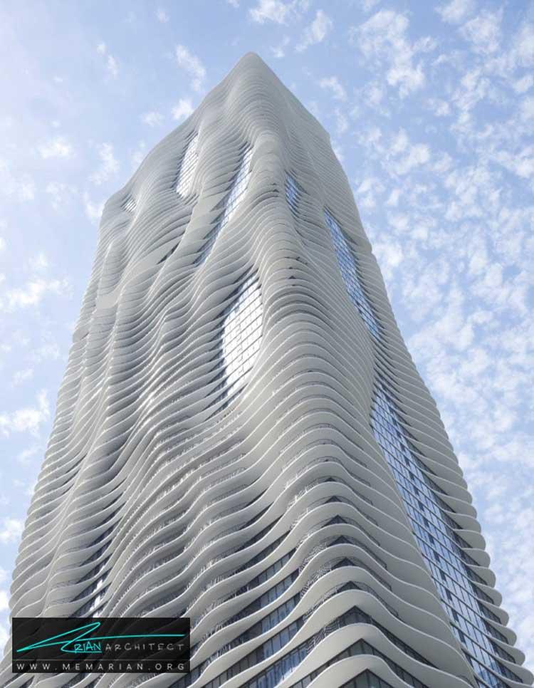نمای برج آکوا یا برج آب در شیکاگو - 10 ساختمان مدرن با نمای خیره کننده
