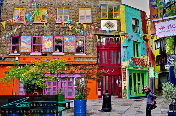 حیاط نیل، لندن - محله های رنگارنگ