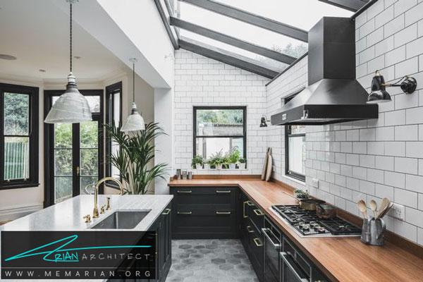 ست اشپزخانه با رنگ خاکستری - قاب پنجره خاکستری