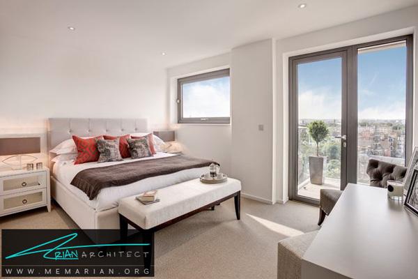 استفاده از قاب پنجره خاکستری در اتاق خواب - قاب پنجره خاکستری