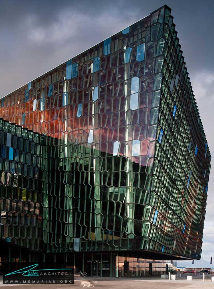نمای سالن کنسرت هارپا در ریکیاویک - 10 ساختمان مدرن با نمای خیره کننده