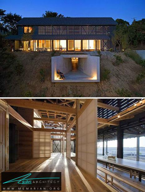 استفاده از تراس و انبار زیر زمینی - طراحی مدرن خانه های ژاپنی