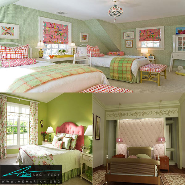اتاقخواب با طراحی رنگ صورتی و سبز - طراحی رنگ صورتی و سبز
