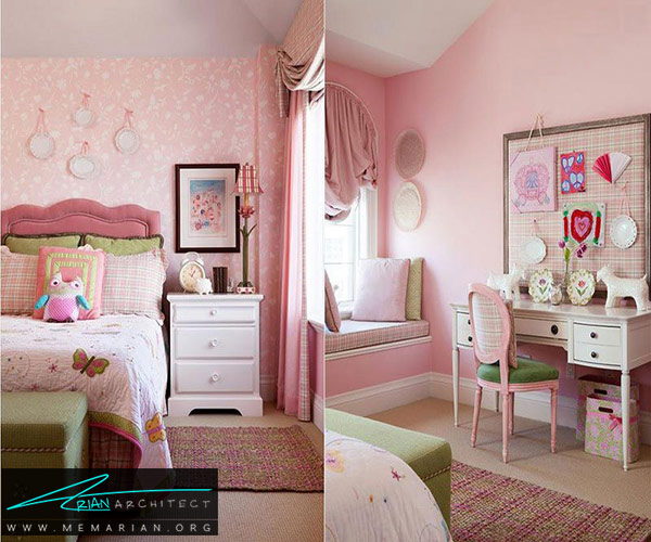 طراحی اتاقخواب دخترانه با رنگ صورتی و سبز - طراحی رنگ صورتی و سبز