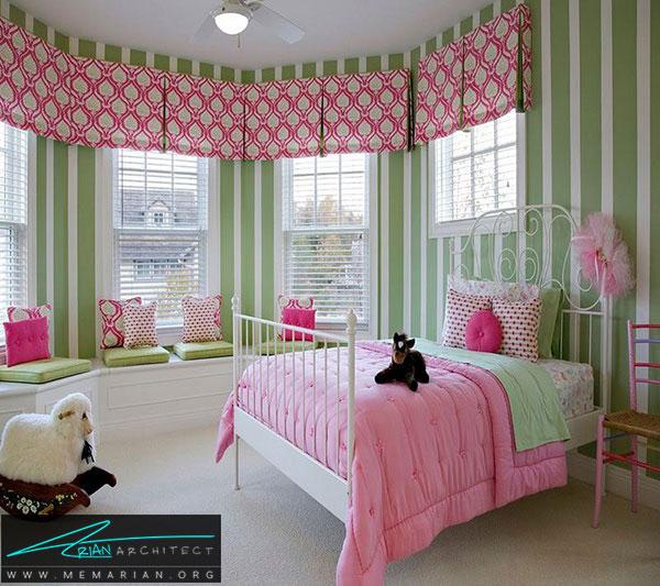 اتاقخواب دختر کوچولو - طراحی رنگ صورتی و سبز