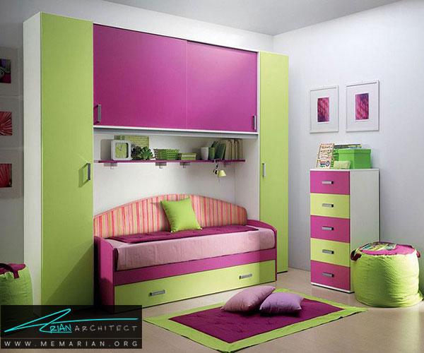 اتاقخواب کودکان به سبک طراحی مدرن ایتالیایی - طراحی رنگ صورتی و سبز