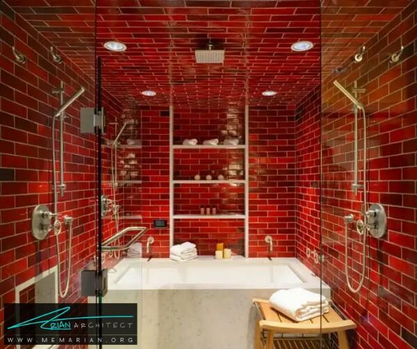 معماری رنگ قرمز با کاشی های ریز در حمام -معماری دستشویی و حمام رنگارنگ