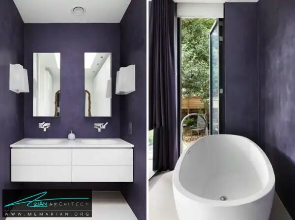 بنفش ملایم و لطیف در معماری دستشویی -معماری دستشویی و حمام رنگارنگ