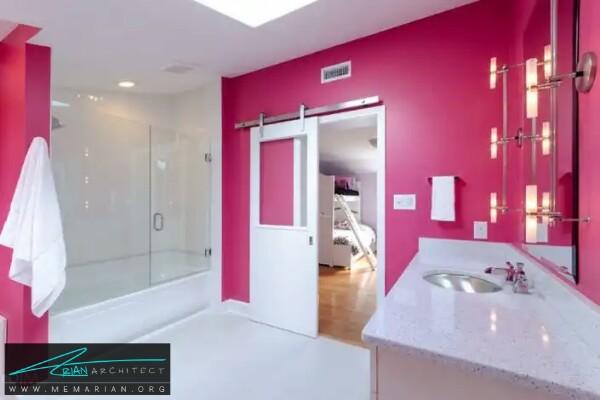 معماری رنگ صورتی برای حمام و دستشویی -معماری دستشویی و حمام رنگارنگ