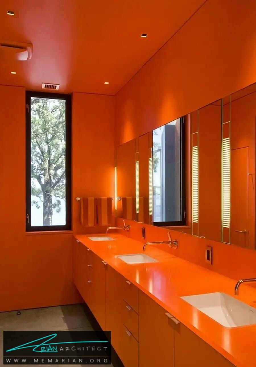 معماری دستشویی نارنجی, دنیای نارنجی -معماری دستشویی و حمام رنگارنگ