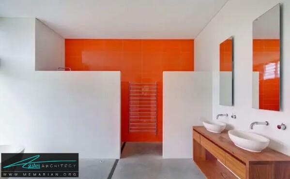 دستشویی شیک مدرن و جذاب سفید نارنجی -معماری دستشویی و حمام رنگارنگ