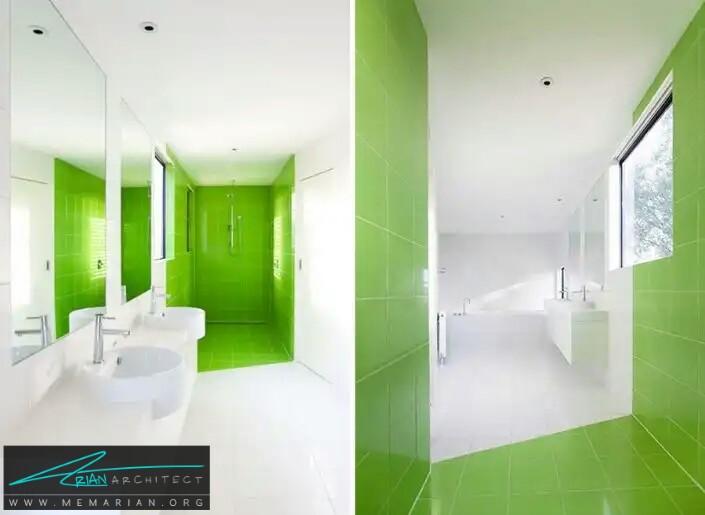 معماری رنگارنگ سفید سبز برای دستشویی و حمام -معماری دستشویی و حمام رنگارنگ