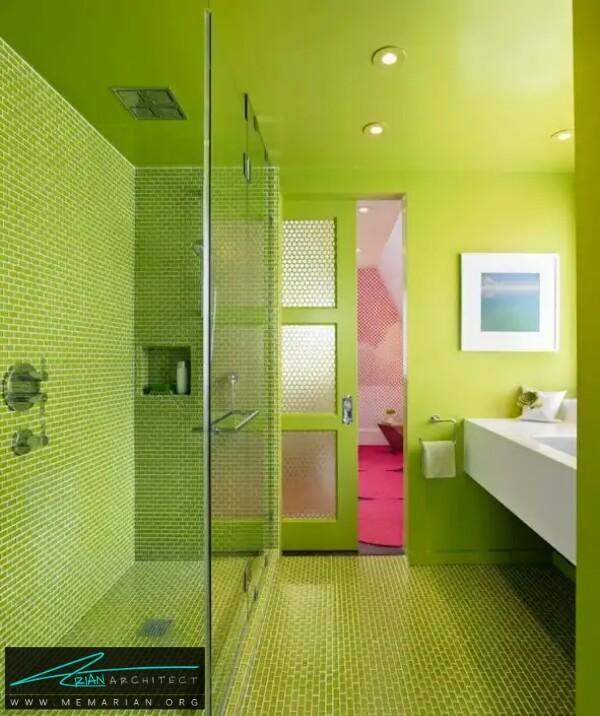 دنیای سبز ! معماری جذاب سبز رنگ دستشویی -معماری دستشویی و حمام رنگارنگ
