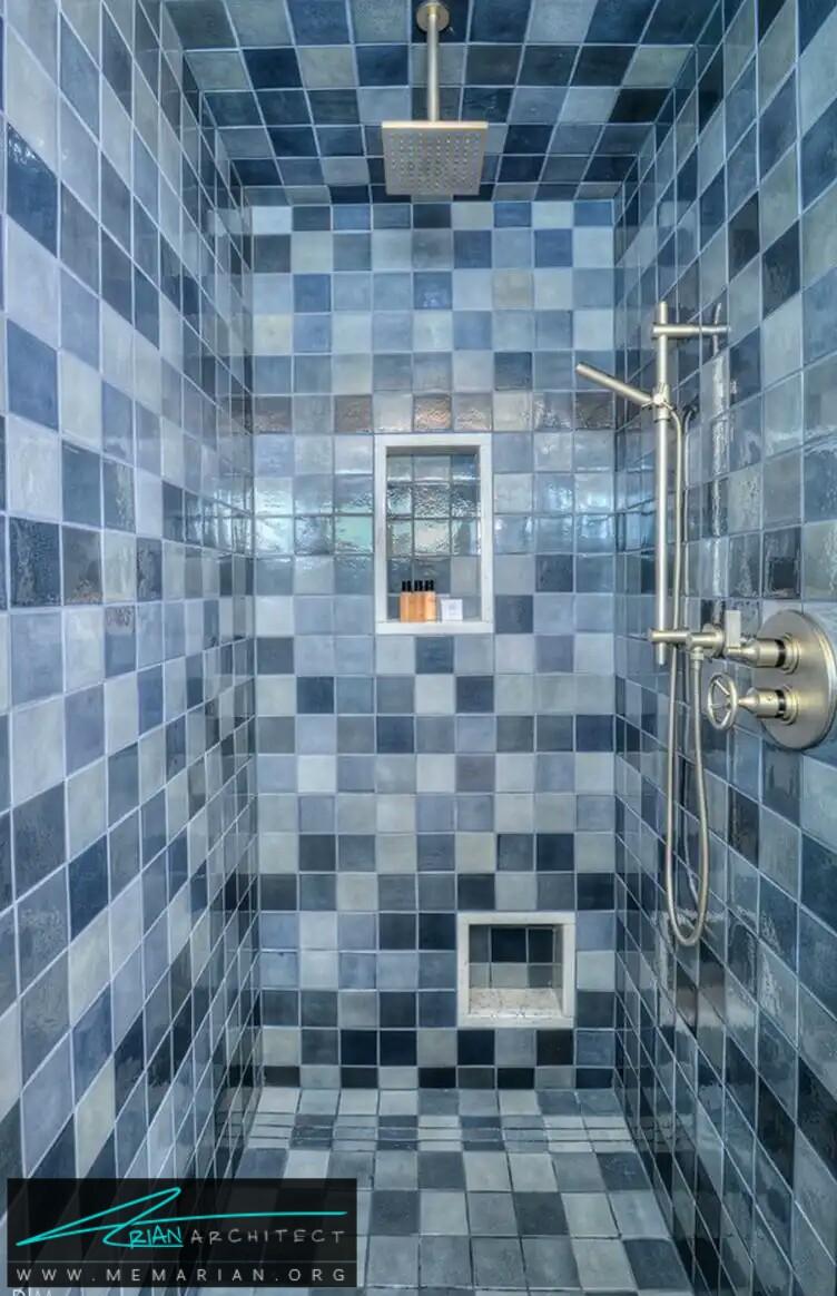 چارخانه های آبی در دستشویی و حمام -معماری دستشویی و حمام رنگارنگ