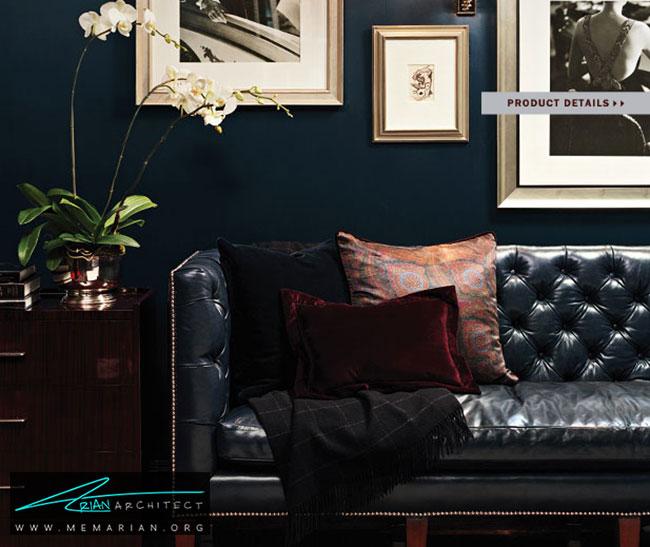دکوراسیون ظریف و شیک با با مبل چرمی سیاه - چگونگی دکوراسیون یک اتاق نشیمن با مبل چرم سیاه