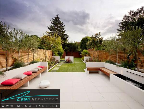نمایش چند عنصر جذاب در باغچه - طراحی باغچه حیاط