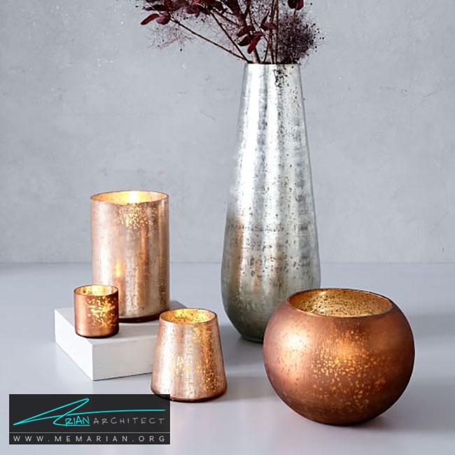 گلدان ها به عنوان پایه شمع - چگونگی استفاده از گلدان برای دکوراسیون داخلی