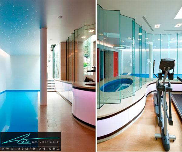 طراحی استخر داخلی زیرزمینی در لندن - استخر سرپوشیده خانگی