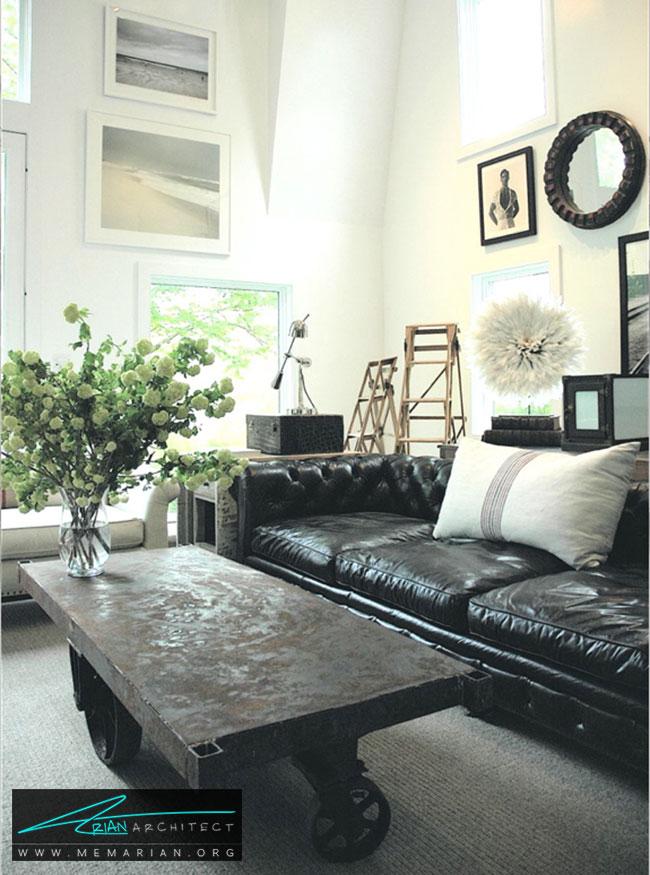 دکوراسیون با مبل چرمی سیاه به سبک صنعتی - چگونگی دکوراسیون یک اتاق نشیمن با مبل چرم سیاه