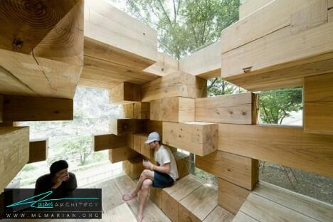 خانه چوب جنگا مانند توسط معماران سو فوجیموتو-معماری چوبی مدرن