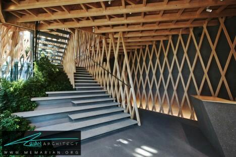 بافت شبکه ای فروشگاه دسر توسط کنگو کوما + آسوکیات -معماری چوبی مدرن