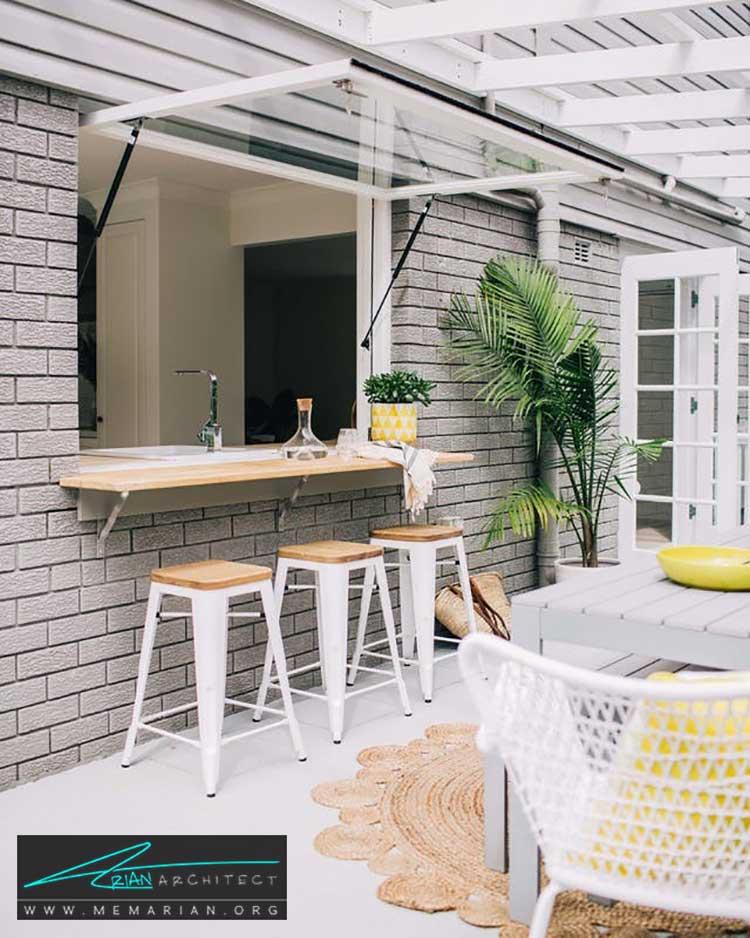 کانتر آشپزخانه رو به حیاط - 25 ایده ساده برای دستیابی به دکوراسیون تابستانی در خانه