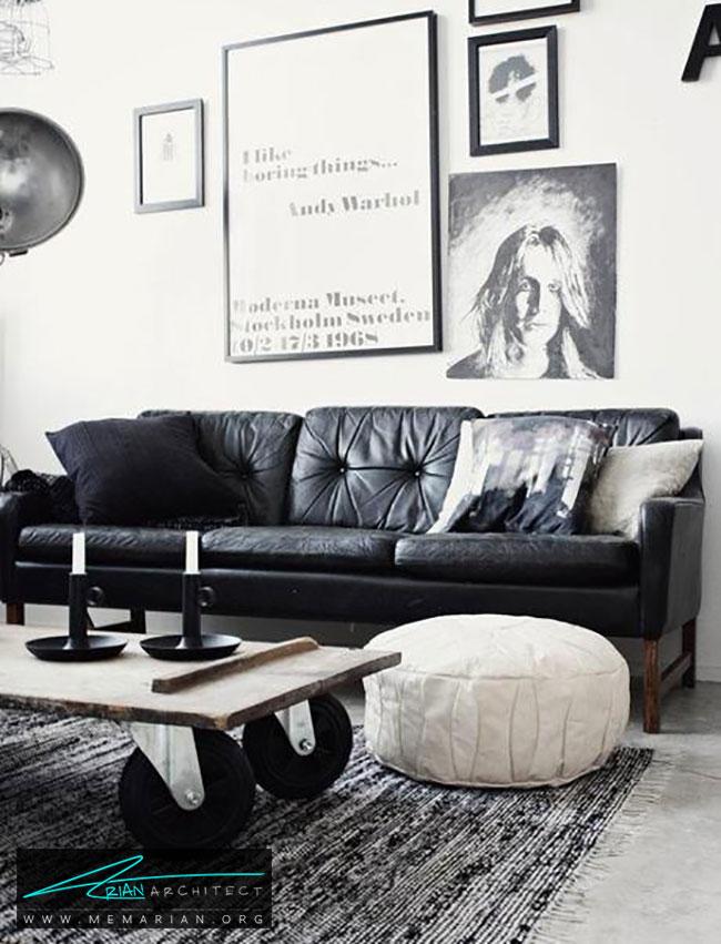 دکوراسیون با مبل چرمی سیاه به سبک اسکاندیناوی - چگونگی دکوراسیون یک اتاق نشیمن با مبل چرم سیاه